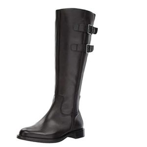 Ecco Women's leather tall buckle ridding boot Blac